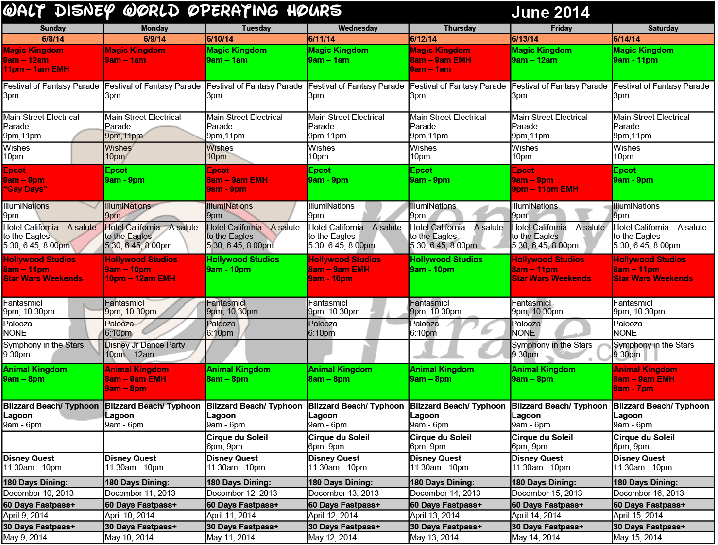 Walt Disney World Crowd Calendar 2014