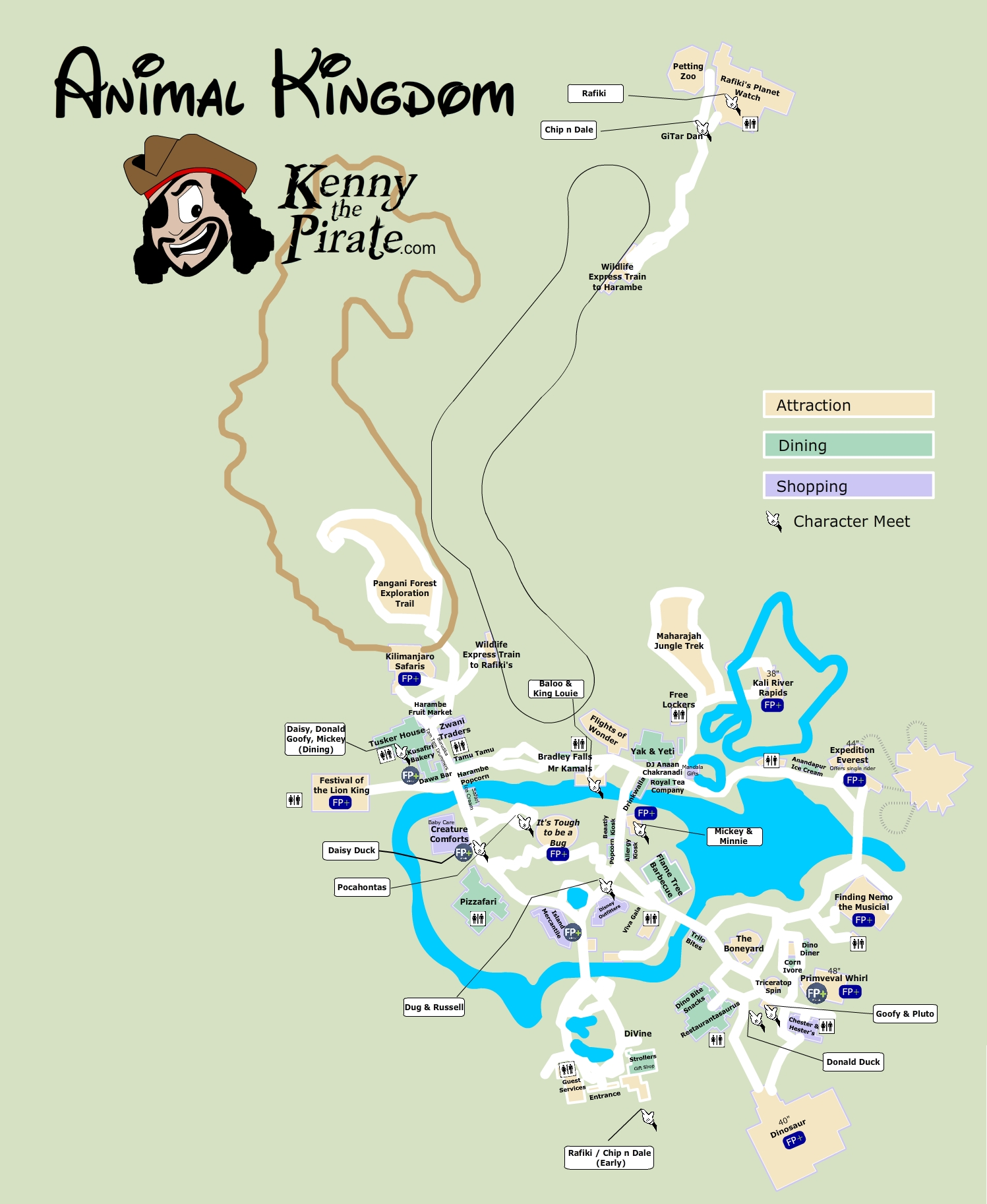 Animal Kingdom Character Location Map KennythePirate