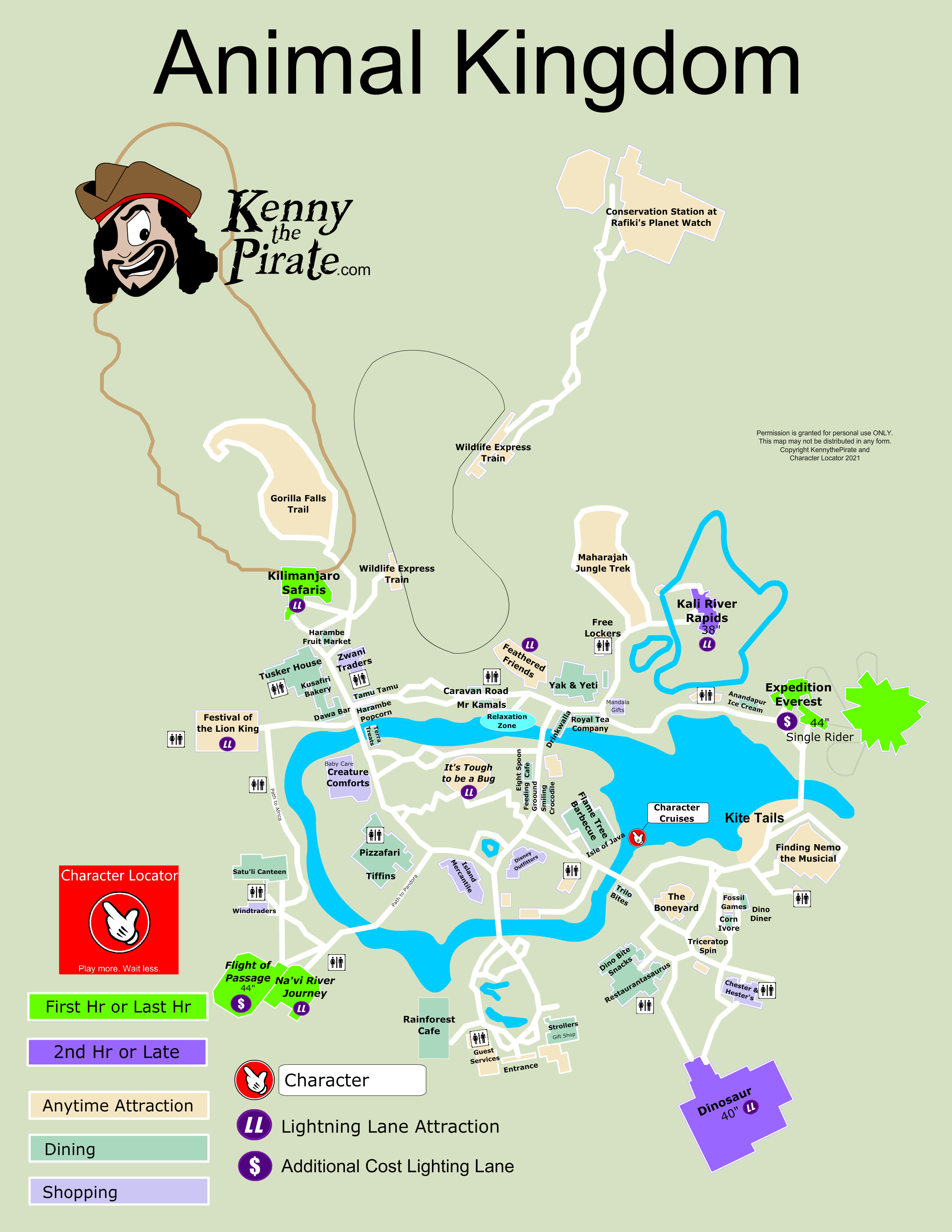 KennythePirate\'s Animal Kingdom Map including Fastpass Plus ...