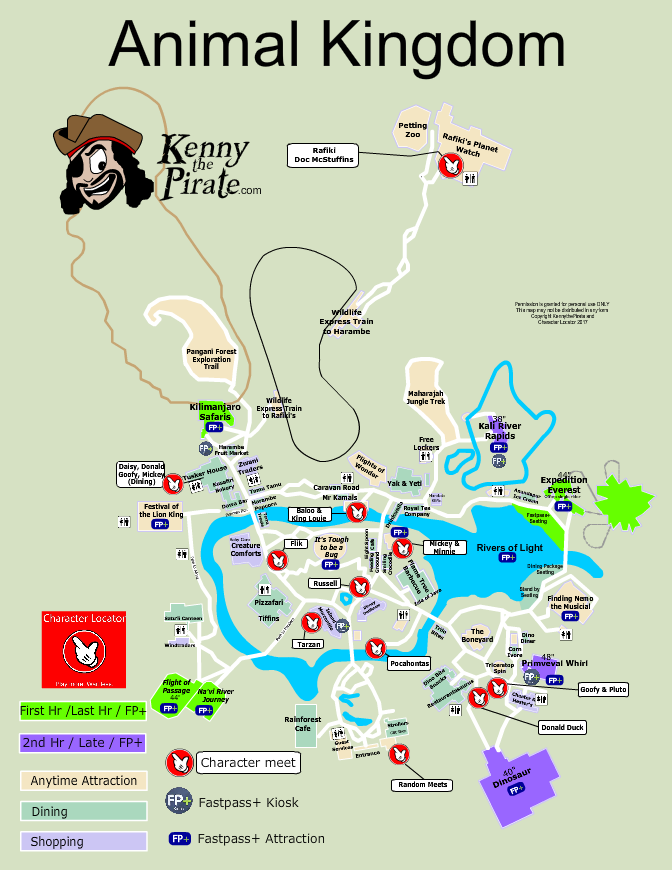 Map of Disney World Animal Kingdom Theme Park