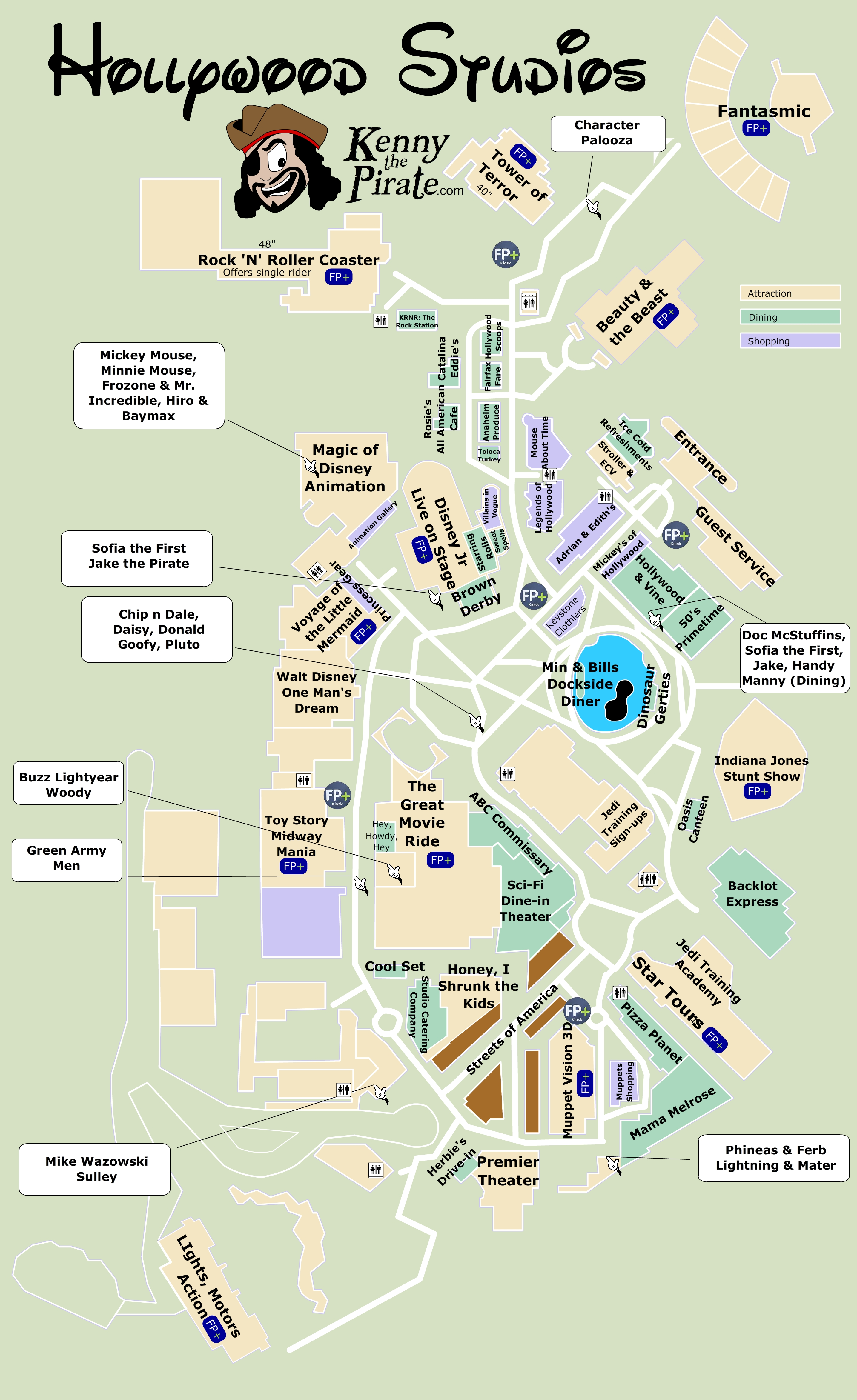 KennythePirate\'s Hollywood Studios Map including Fastpass ...